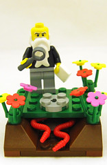 The Worm Stone (Kaptain Kobold) Tags: flowers holiday ecology stone lego experiment darwin evolution science celebration charlesdarwin soil study worms cliche earthworm faf downhouse hcs 2011 kaptainkobold darwinday yourfave lumbricusterrestris wormstone fafl hcssh hcs7 hcssh7