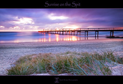 Sunrise on the Spit (Beth Wode Photography) Tags: ocean beach sunrise reflections pier sand purple jetty spit mauve seagrass goldcoast bethwode