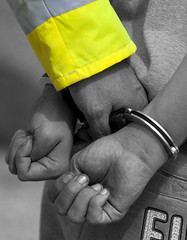 Handcuffed (Greater Manchester Police) Tags: manchester police cuff handcuffs gmp prisoner restraint restrained secured britishpolice underarrest ukpolice greatermanchesterpolice quickcuffs unitedkingdompolice