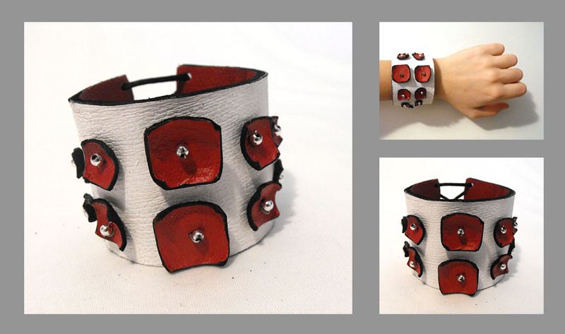 Leather bracelet.Red wine squares on white leather