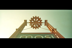 MOSI Sign (amchu) Tags: panorama film 35mm manchester toy iso200 ebay fuji panoramic plastic everyday cheap vivitar mosi lowperspective focusfree ic101
