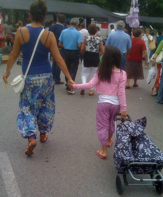 Mother and Daughter in Aladdin Pants
