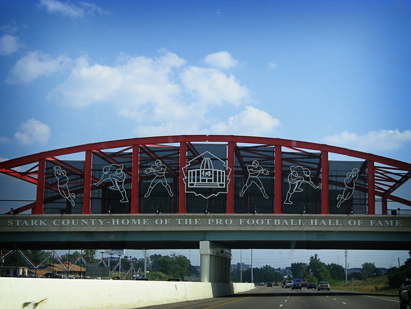 Football Hall of Fame Road Sign