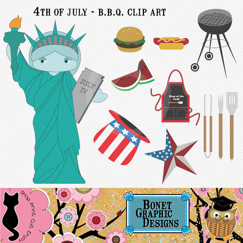 clip art 4th of july. 4th of July BBQ Clip Art Set