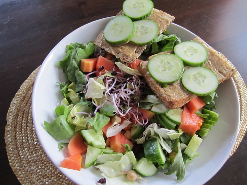 Homemade Papaya, Cucumber and Sprout Salad with Mustard & Cucumber Toasts
