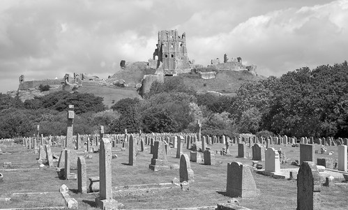 Corfe Castle over the cemetery