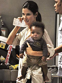 Sandra Bullock with Seven-Month-Old Son Louis in New Orleans