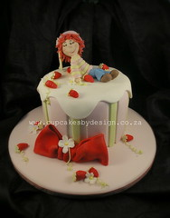 Elena's Strawberry Shortcake! (Dot Klerck....) Tags: pink cake southafrica stripes capetown dot bow strawberryshortcake cupcakesbydesign