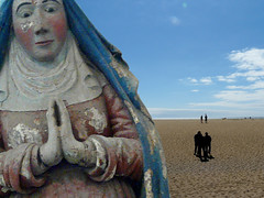 How embarrassing... (lost in minefield) Tags: summer beach church statue religion praying montage virginmary vm