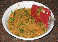 okara-carrot-cilantro mixture