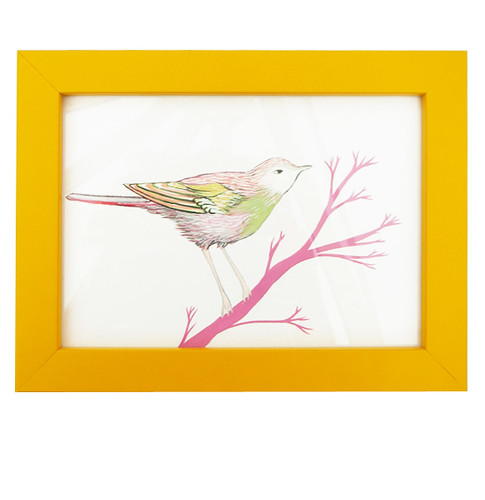 Little Bird Yellow Framed Original Drawing