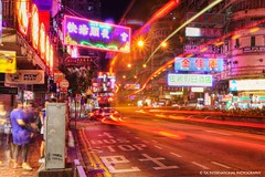 Midnight Rush (TIA International Photography) Tags: china road street city light people urban signs motion blur color colour bus station tia person hongkong lights movement colorful asia stream neon traffic bright letters ad chinese trails pedestrian move east advertisement jordan busy stop transportation symbols cantonese avenue  kowloon hussle tosinarasi tiascapes tiainternationalphotography