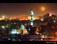Al Khartoum ! (Bashar Shglila) Tags: africa light red moon night view sudan mosque khartoum masjid redmoon       thepowerofnow