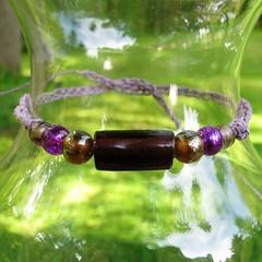 Purple and sepia hemp bracelet or anklet - Moxious Minstrel