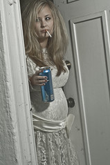 WT Bride Concept #5 (isayrock) Tags: wedding white beer trash bride dress cigarette humor pregnancy pregnant smoking belly maternity trailer redneck hillbilly