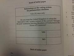 AV referendum ballot paper