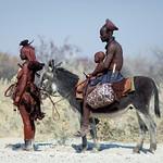 Himba family with donkey - Angola