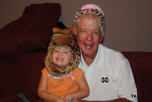 Catie & Pop-Pop model their funny hats