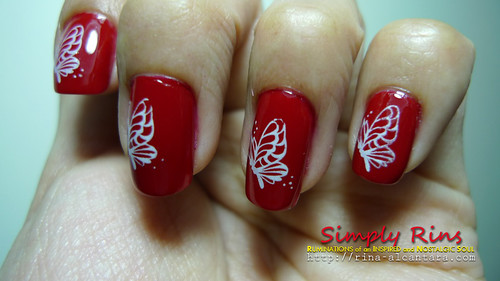 Nail Art Red Butterflies 03