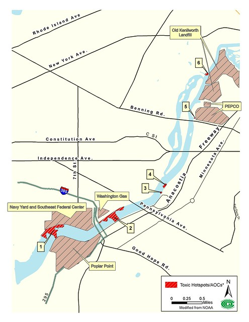 Toxic sites along the Anacostia River.