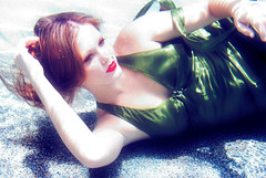 only in dreams do I feel the torment of my isolation (leslie.june) Tags: underwater surreal redlipstick greendress underwaterphotography waterphotography lesliejunephotography wwwlesliejunecom lightcaustics