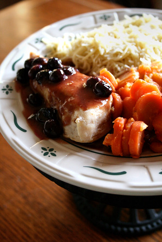 Chicken with Blueberry Sauce.