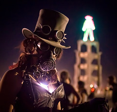 Steampunk at Burning Man (Stuck in Customs) Tags: world travel usa man black west festival rock digital america photography coast wooden b