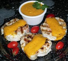 Sandra´s Grilled Alaska Halibut and Salmon Pinwheels with Mexican Mango Salsa Puree