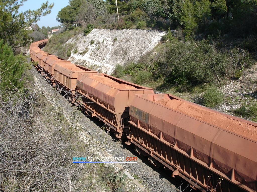 Train de marchandises composé de wagons minéraliers chargés de bauxite de Guinée à Luynes