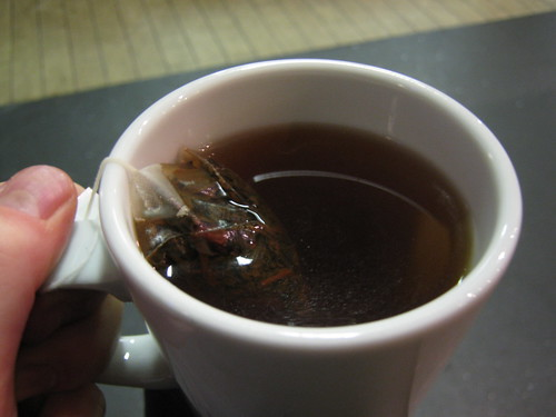 Chocolate flake teapig in water