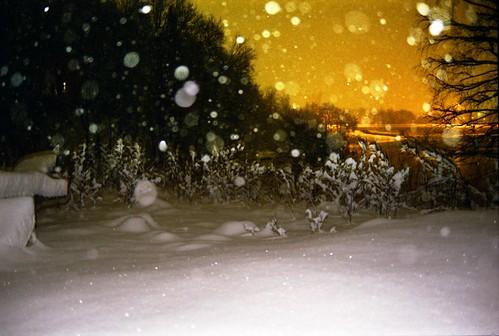 Falling snow on the outskirts of city ©  Sergey Tchernykov