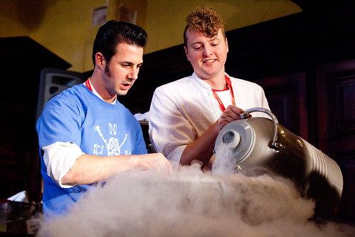 Freezing a large batch of drinks with liquid nitrogen