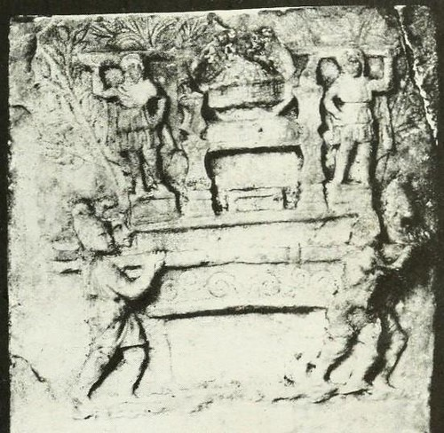 Altar Roman Galli men carry a throne of Cybele, with two statues of Gallus on pedestal