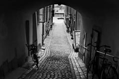Stockholm (bm^) Tags: road street white black bike blackwhite nikon zwartwit sweden stockholm stan gamlastan zwart wit zweden gamla d90  nikond90bw mygearandmepremium mygearandmebronze mygearandmesilver mygearandmegold mygearandmeplatinum