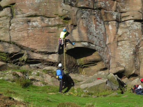Rock climbing on the Roaches Photo