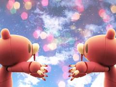 [241/365] gloomy hug fest (snippy.snippy.crab.kristine.) Tags: bear pink sky texture project stars toy toys star weird blood hug day gloomy random crab plastic odd gloomybear 365 kristine 2010 snippy 241 revoltech