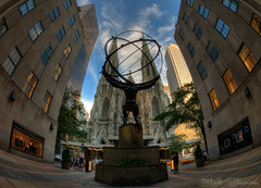 Atlas and St. Patrick's Cathedral (MattSherman) Tags: new york city nyc newyorkcity nikon manhattan stpatrickscathedral center fisheye atlas 105 rockefeller f28 d300s
