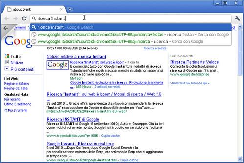 Instant Search in Google Chrome (ma solo su Windows)
