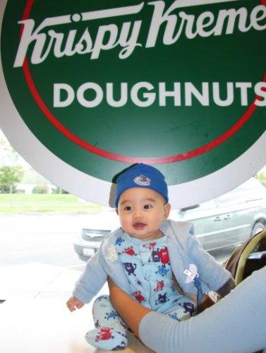 Baby Z visits Krispy Kreme