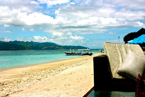 Gili Trawangan with Lombok Island view, Indonesia