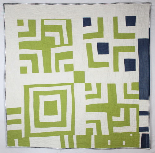 Linen and Denim Split Log Cabin Quilt Front
