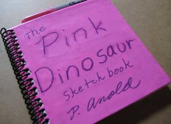 Pink Dinosaur Project Sketchbook (after picture)