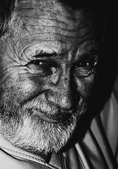 Me myself I (Wayne Molyneux) Tags: old bw selfportrait man me beard blackwhite sparkle lowkey canoneos350d wrinkles glint 18200sigma waynemolyneux