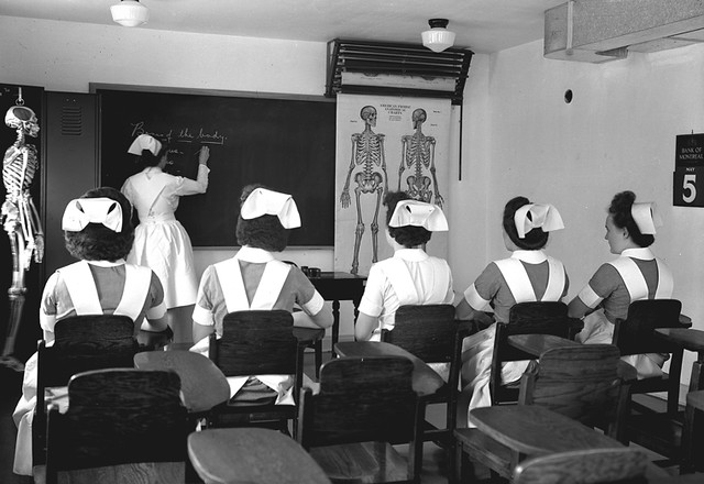 Anatomy class in the Galt School of Nursing