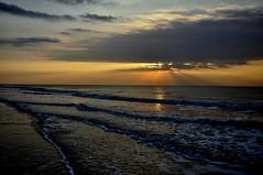 RiseAndShine... (Deborah Valentin) Tags: ocean morning beach water sunrise island golden waves glow x sunrays hiltonheadisland