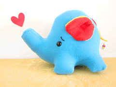 Oops Big Elephant (casscette) Tags: blue red elephant animal heart tail plush trunk worried oops