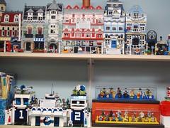 LEGO Area October 2, 2010 #2 (notenoughbricks) Tags: lego greengrocer legomocs citycorner cafecorner legocollection legodisplay legodesk legoworkspace legovideogamemosaics legoinstructionbooklets legocollectibleminifiguresdisplay