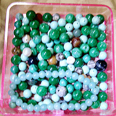 Jade and stone bead box