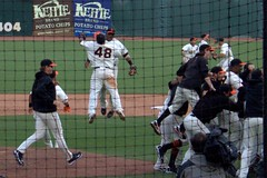 the giants win the NL West title (artolog) Tags: sanfrancisco panda baseball victory celebration giants players maysfield attpark pablosandoval joseuribe