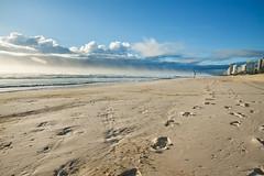 (Pawel Papis Photography) Tags: ocean morning sky cloud sunlight mist holiday building beach water fog sunrise person sand track trails flare footprint lowangle walkingonthebeach